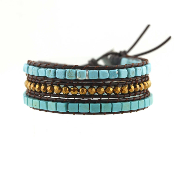 Balla Gold & Turquoise Dreams Leather Wrap Bracelet with Layered Beads