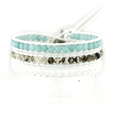 Balla Pure Intentions Leather Stone & Crystal Leather Wrap Bracelet