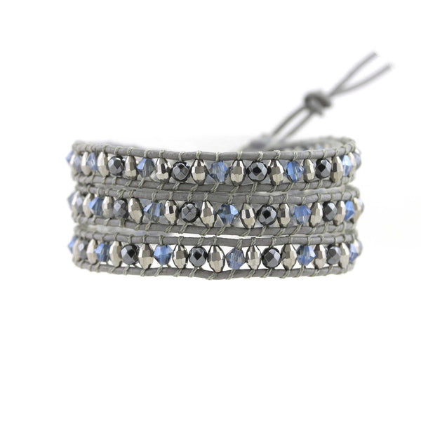 Balla Blue Aura Crystal and Hematite Wrap Bracelet with Gray Leather