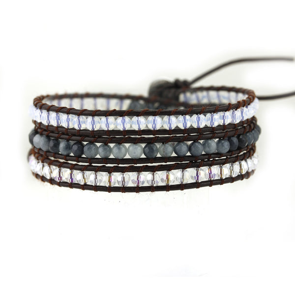 Balla True Clarity Leather Wrap Bracelet with Layered Crystal Beads