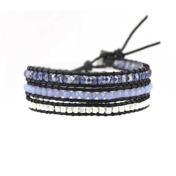 Balla Silver and Blue Lagoon Leather Wrap Bracelet with Layered Beads