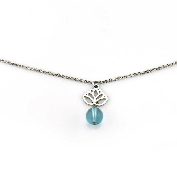 Balla Silver Lotus Flower Charm with Light Blue Crystal Necklace