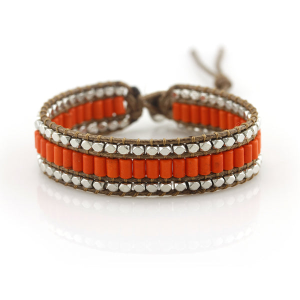 Balla Orange Turquoise Bracelet with Brown Leather and Layered Beads