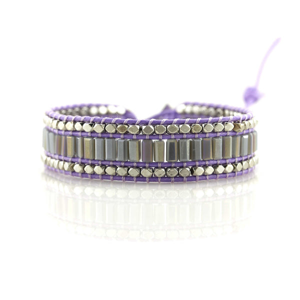 Balla Bohemian Purple Crystal Wrap Bracelet with Layered Silver Beads