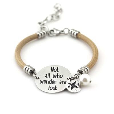 Balla Not All Who Wander are Lost Tan Leather Bracelet with Charms
