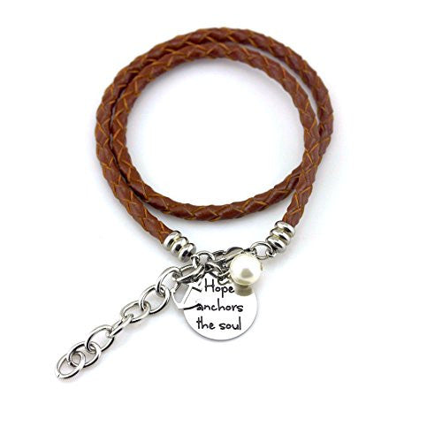 Balla Hope Anchors the Sole Tan Leather Wrap Bracelet with Silver Charm