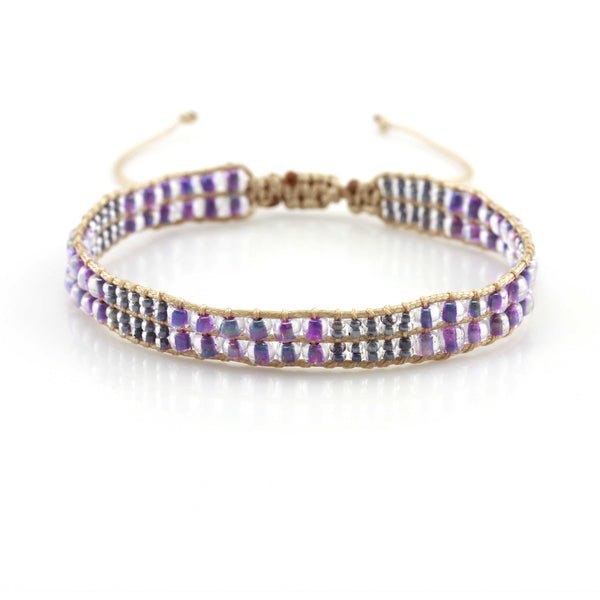 Balla Purple Peace Seed Bead Bracelet with Layered Wrap Design