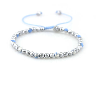 Balla Blue Strength in Peace and Prosperity Silver Hematite Beaded Bracelet