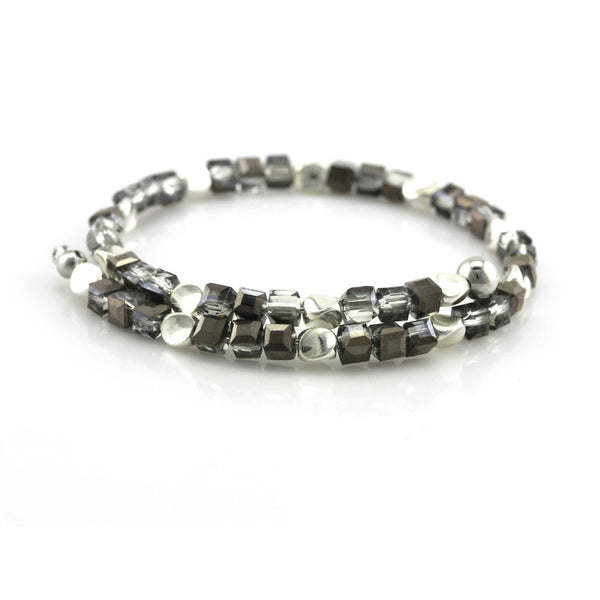 Balla Silver and Gray Sacred Energy Crystal Bracelet with Wrap Design