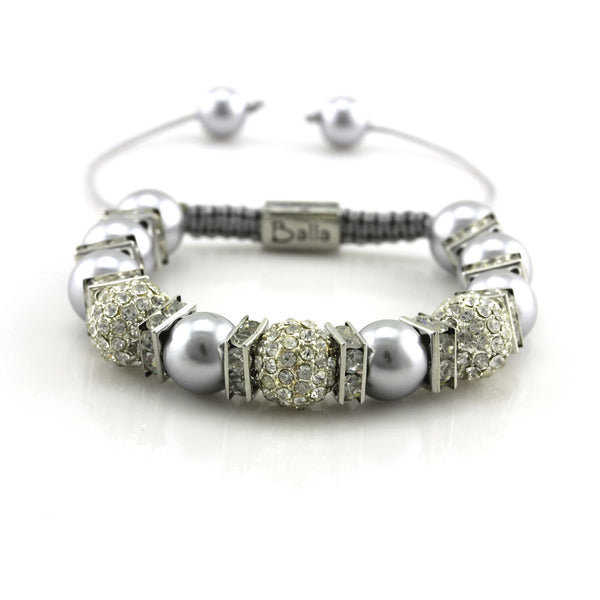 Balla White Crystal Dreams Designer Bracelet with Shell Pearl Beads