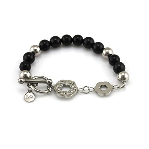 Balla Black and Silver Beaded Toggle Bracelet with Silver Accents