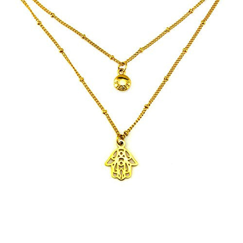 Balla 16 Inch Layered Happy Hamsa Necklace with Extender Chain