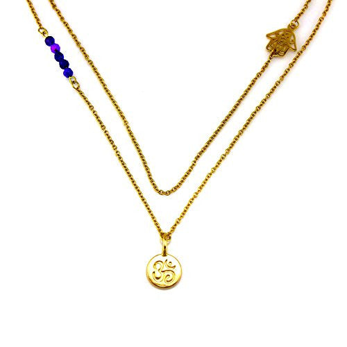 Balla Blue and Gold Double Layer For Love & Yoga Necklace with Pendant