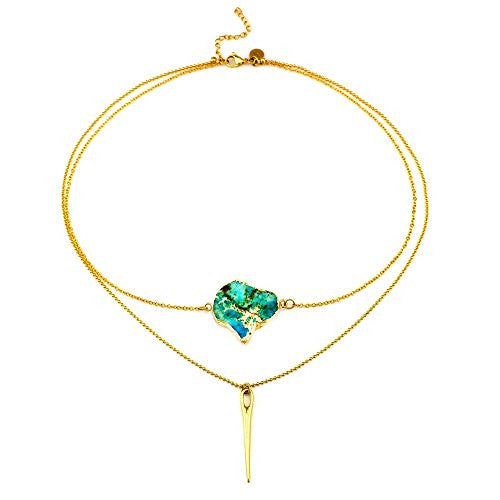Balla Green Blue Stone and Gold Graceful Warrior Necklace with Pendant