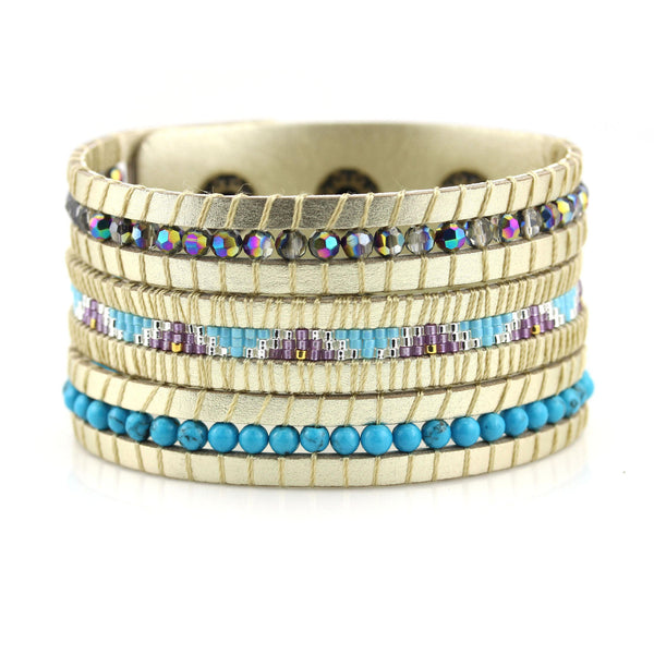 Balla Utopia Gold Cuff Bracelet with Genuein Leather and Blue Beads
