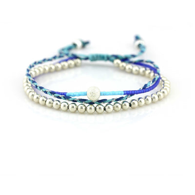 Balla One Love Blue & Silver Beaded Layer Bracelet with Adjustable Fit