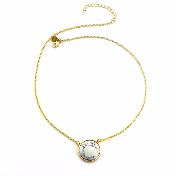Balla Exile White Turquoise Marble and Gold Pendant Necklace