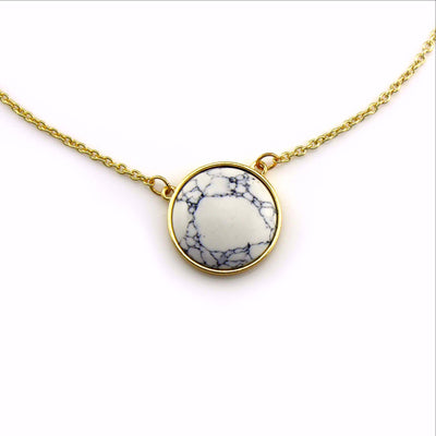 Balla Exile Strength White Turquoise Marble and Gold Pendant Necklace