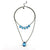 Balla Light The Way Blue Crystal and Gun Metal Pendant Layer Neckalce