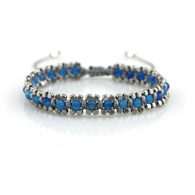 Balla Blue and Silver Beaded Bracelet with Adjustable Cord Fit