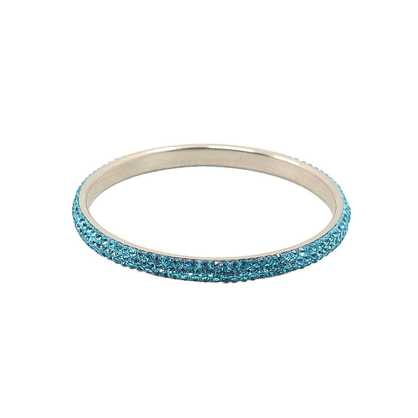 Balla Lake Blue Crystal Balla Skinny Stackable Bangle Bracelet