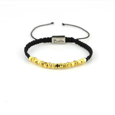 Balla Black Strength Bracelet with Gold Beads