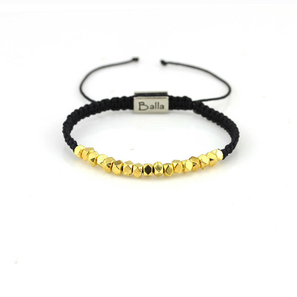 Balla Black Strength Bracelet with Gold Plated Beads