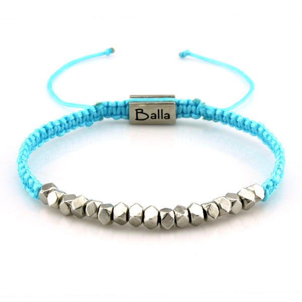 Balla Blue Faith Karma Bracelet with Silver Beads and Adjustable Fit