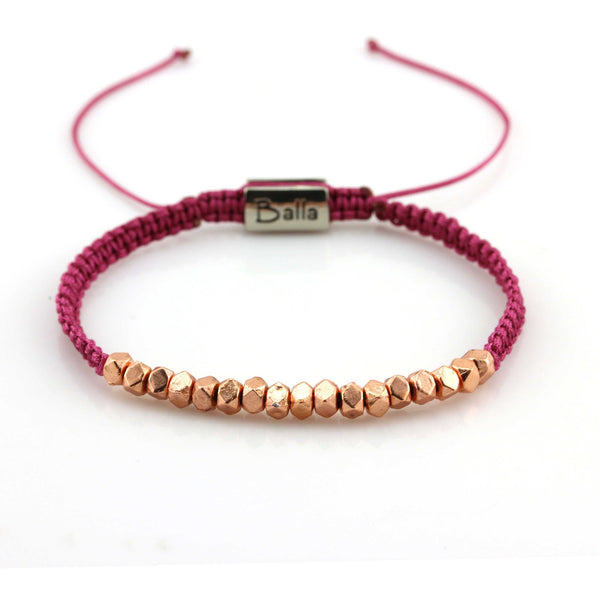 Balla Maroon Positive Energy Karma Bracelet with Gold Rose Beads