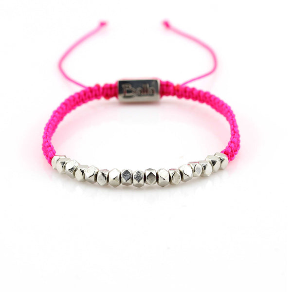 Balla Dark Pink and Silver Karma Bracelet with Adjustable Fit