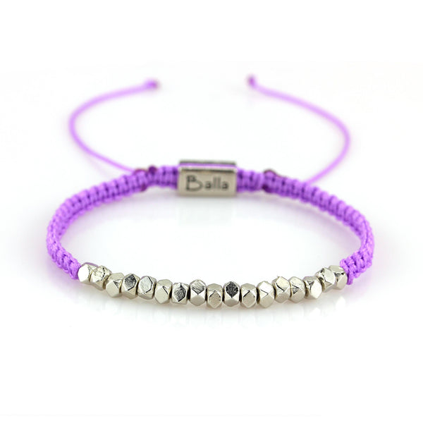 Balla Purple Karma Bracelet with Silver Beads and Adjustable Fit