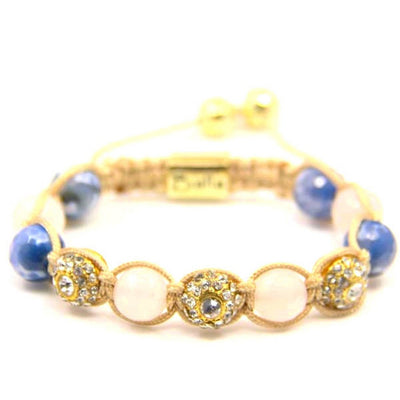 Balla Purity Bracelet with Pink Quartz, Blue Stones, and Crystal Beads