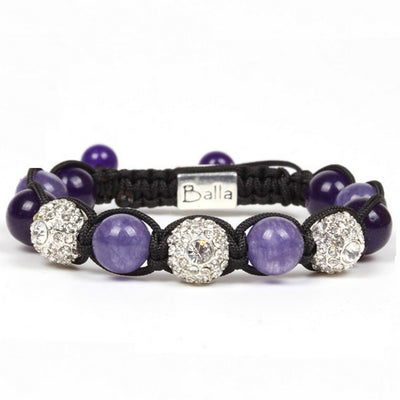 Balla New Horizon Bracelet with Purple Violet and Crystal Beads