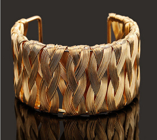 Balla Gold Weave Bangle Bracelet with Layered Braided Design