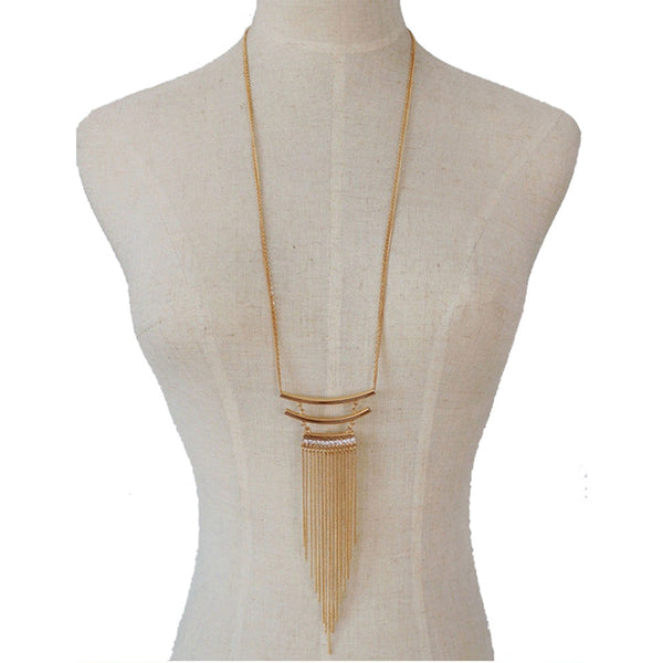 Balla Gold Tier Dangle Necklace with Chain Layers and White Crystals