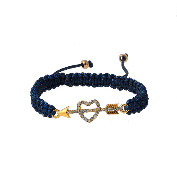Balla Heart and Arrow Lovestruck Navy Crystal Charm Bracelet