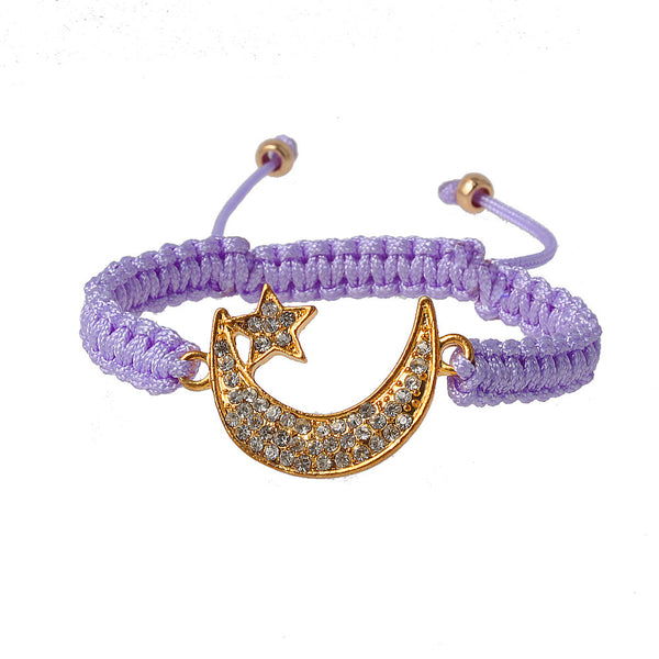 Ball Over The Moon Lavender Charm Bracelet with Gold and Crystal