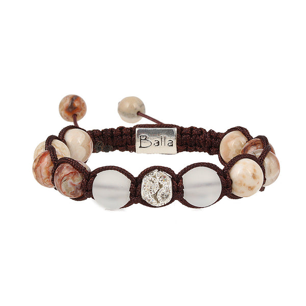 Balla Coral Coast Stone & Crystal Bracelet with White and Cream Beads