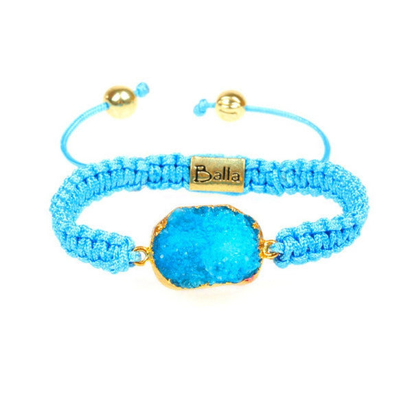 Balla Blue Agate Gemstone Druzy Bracelet with Adjustable Fit Cord