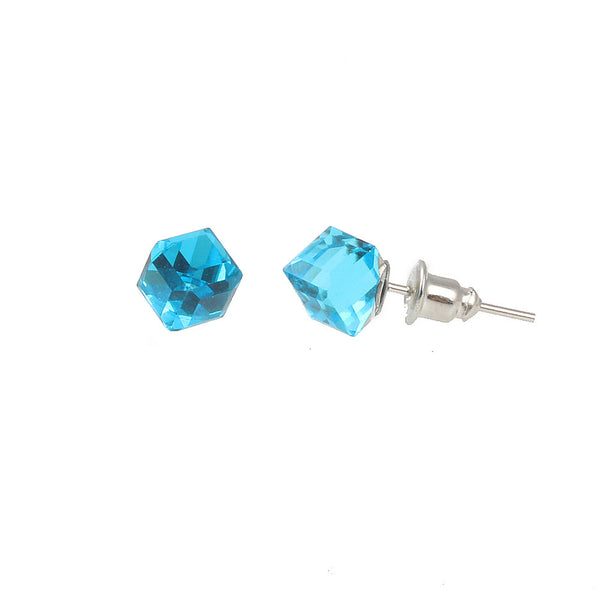 Balla Square Aquamarine Crystal Stud Earrings with Post and Back
