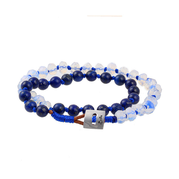 Balla Devotion Blue & White Jade Bracelet with Layered Beads