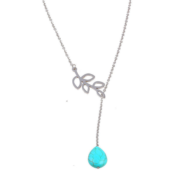 Balla Turquoise Earthy Elegance Silver Neckalce with Drop Pendant
