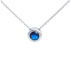 "Balla Silver and Blue Sapphire Halo Pendant Necklace with 18"" Chain"