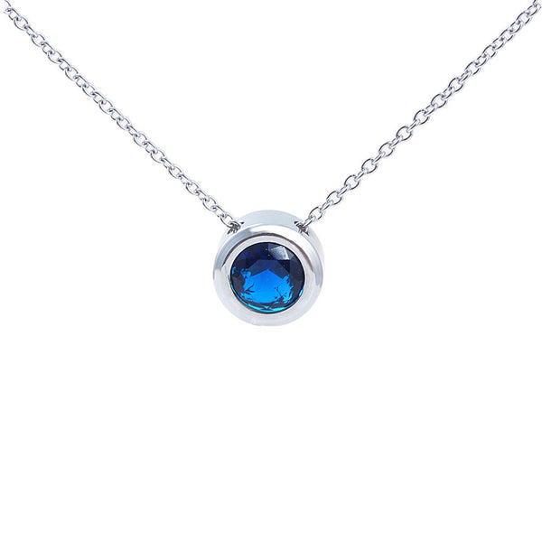 Balla Silver and Blue Sapphire Halo Pendant Necklace with 18