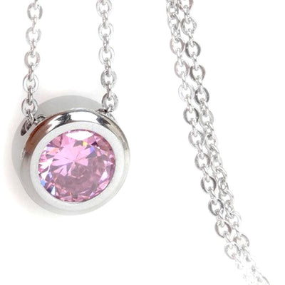 "Balla Silver and Pink Tourmaline Halo Pendant Necklace with 18"" Chain"