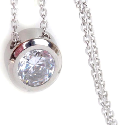 "Balla Silver and Simulated Diamond Halo Pendant Necklace with 18"" Chain"