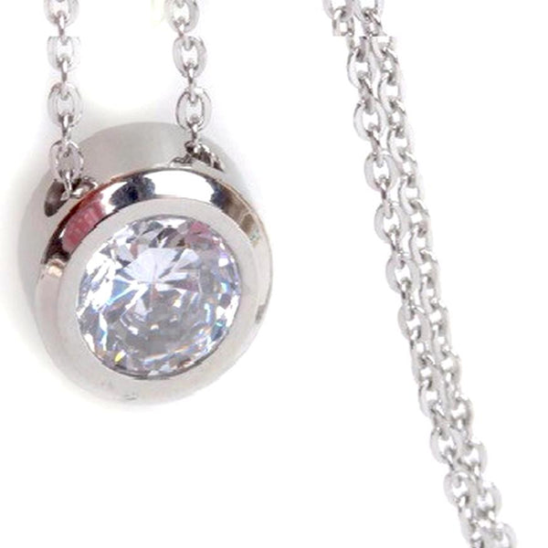 Balla Silver and White CZ Halo Pendant Necklace with 18