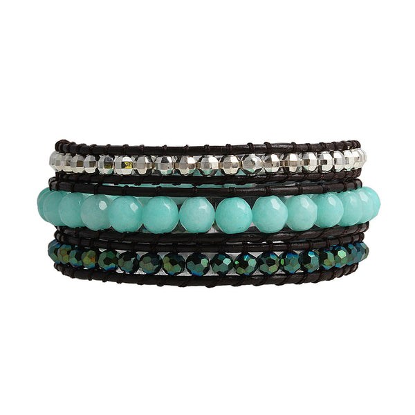 Balla Moonlight Magic Crystal Leather Wrap Bracelet with Blue Beads