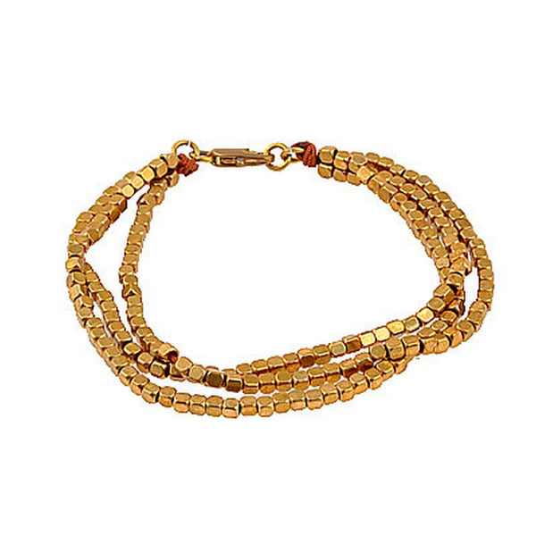 Balla Gold Nugget Strand Bracelet with Three Layers of Beads