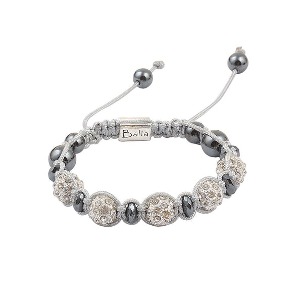 White Balla Crystal & Hematite Bracelet with Gray Silver Cord
